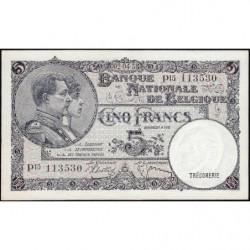 Belgique - Pick 108a - 5 francs - 09/04/1938 - Etat : pr.NEUF