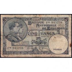 Belgique - Pick 108a - 5 francs - 09/04/1938 - Etat : TB-