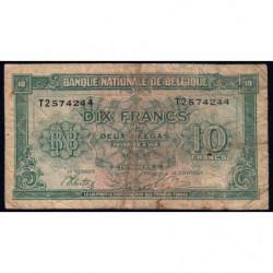 Belgique - Pick 122 - 10 francs ou 2 belgas - Série 2 - 01/02/1943 - Etat : B+