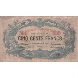 Belgique - Pick 65d - 500 francs - 12/06/1907 - Etat : B+