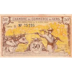 Auch (Gers) - Pirot 15-34 - 50 centimes - Série S - 05/04/1922 - Etat : SUP