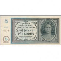 Bohême-Moravie - Pick 4a_2 - 5 korun - 1940 - Série G - Etat : NEUF