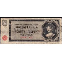 Bohême-Moravie - Pick 5a - 50 korun - 12/09/1940 - Série A12 - Etat : B+