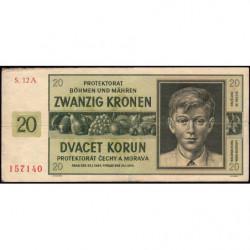 Bohême-Moravie - Pick 9a_1 - 20 korun - 21/01/1944 - Série 12A - Etat : TTB-