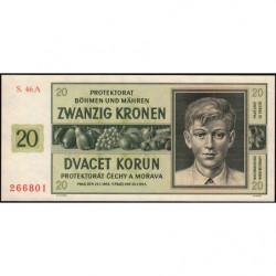 Bohême-Moravie - Pick 9a_1 - 20 korun - 21/01/1944 - Série A - Etat : NEUF