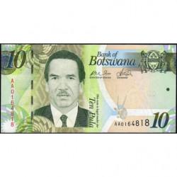 Botswana - Pick 30a - 10 pula - Série AA - 2009 - Etat : NEUF