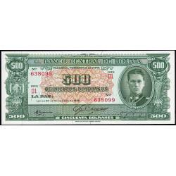 Bolivie - Pick 148_5 - 500 bolivianos - Loi 1945 (1961) - Série D1 - Etat : NEUF