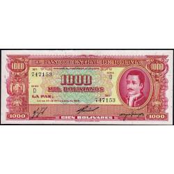 Bolivie - Pick 149_2 - 1'000 bolivianos - Loi 1945 (1960) - Série D - Etat : NEUF