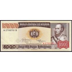 Bolivie - Pick 168a1 - 5'000 pesos bolivianos - Loi 1984 - Série A - Etat : SPL