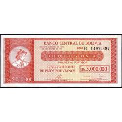 Bolivie - Pick 192A - 5'000'000 pesos bolivianos - Loi 1985 - Série B - Etat : SUP
