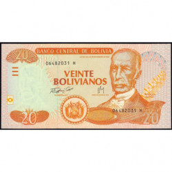 Bolivie - Pick 234 - 20 bolivianos - Loi 1986 (2007) - Série H - Etat : NEUF