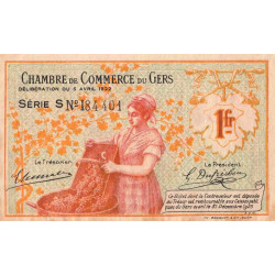 Auch (Gers) - Pirot 15-37 - Série S - 1 franc - 1922 - Etat : TTB
