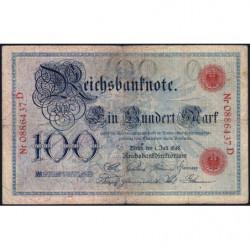 Allemagne - Pick 20a - 100 mark - 01/07/1898 - Lettre O - Série D - Etat : TB-