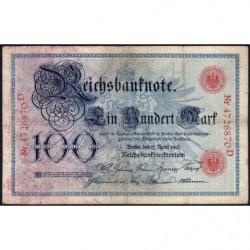 Allemagne - Pick 22 - 100 mark - 17/04/1903 - Lettre H - Série D - Etat : TB-