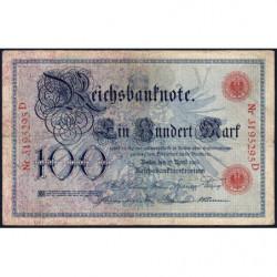Allemagne - Pick 22 - 100 mark - 17/04/1903 - Lettre V - Série D - Etat : TB-
