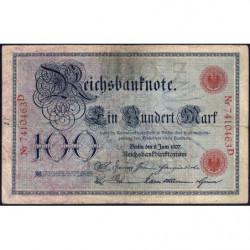 Allemagne - Pick 30 - 100 mark - 08/06/1907 - Lettre Z - Série D - Etat : TB