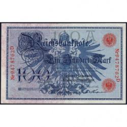 Allemagne - Pick 33a - 100 mark - 07/02/1908 - Lettre A - Série D - Etat : SUP