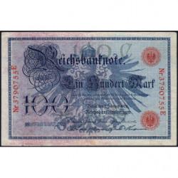 Allemagne - Pick 33a - 100 mark - 07/02/1908 - Lettre C - Série E - Etat : TTB-