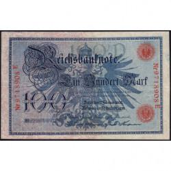 Allemagne - Pick 33a - 100 mark - 07/02/1908 - Lettre D - Série E - Etat : TTB