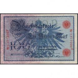 Allemagne - Pick 33a - 100 mark - 07/02/1908 - Lettre D - Série F - Etat : TTB-