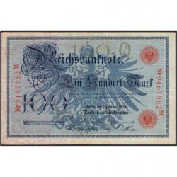 Allemagne - Pick 33a - 100 mark - 07/02/1908 - Lettre Q - Série M - Etat : TTB