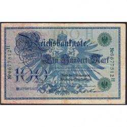 Allemagne - Pick 34 - 100 mark - 07/02/1908 - Lettre H - Série H - Etat : TTB-