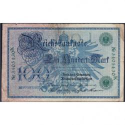 Allemagne - Pick 34 - 100 mark - 07/02/1908 - Lettre L - Série K - Etat : TB