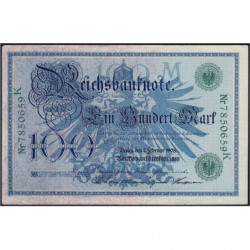 Allemagne - Pick 34 - 100 mark - 07/02/1908 - Lettre M - Série K - Etat : TTB+