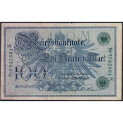 Allemagne - Pick 34 - 100 mark - 07/02/1908 - Lettre M - Série K - Etat : TTB-