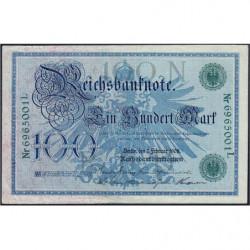 Allemagne - Pick 34 - 100 mark - 07/02/1908 - Lettre N - Série L - Etat : TTB+
