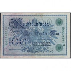 Allemagne - Pick 34 - 100 mark - 07/02/1908 - Lettre Q - Série M - Etat : TTB+