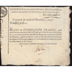 1795 - Loterie Nationale - Billet de 50 francs - Etat : SUP+