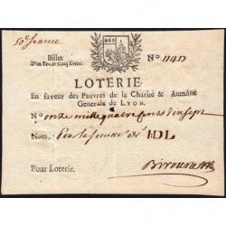 1713 - Lyon- En faveur des Pauvres - Billet 1 écu de 5 livres - Etat : SUP+