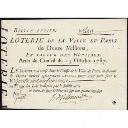 1787 - Paris- En faveur des Hôpitaux - Billet entier de 240 livres - Etat : SPL