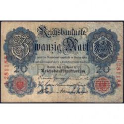 Allemagne - Pick 40a - 20 mark - 21/04/1910 - Lettre R - Série J - Etat : TB
