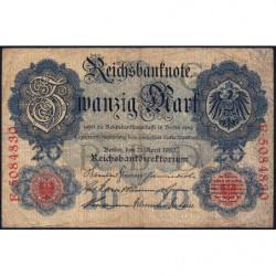 Allemagne - Pick 40b - 20 mark - 21/04/1910 - Lettre G - Série F - Etat : TB