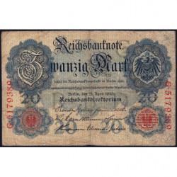 Allemagne - Pick 40b - 20 mark - 21/04/1910 - Lettre G - Série G - Etat : TB