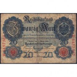 Allemagne - Pick 40b - 20 mark - 21/04/1910 - Lettre G - Série H - Etat : TB