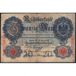 Allemagne - Pick 40b - 20 mark - 21/04/1910 - Lettre R - Série H - Etat : TB