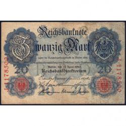 Allemagne - Pick 40b - 20 mark - 21/04/1910 - Lettre R - Série J - Etat : TB