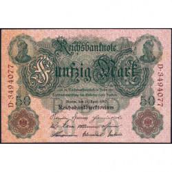 Allemagne - Pick 41 - 50 mark - 21/04/1910 - Lettre A- Série D - Etat : TTB+