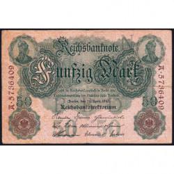 Allemagne - Pick 41 - 50 mark - 21/04/1910 - Lettre N- Série A - Etat : TB+