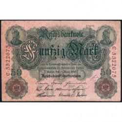 Allemagne - Pick 41 - 50 mark - 21/04/1910 - Lettre T- Série C - Etat : B+