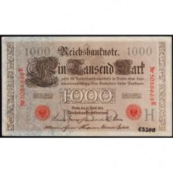 Allemagne - Pick 44b variété - 1'000 mark - 21/04/1910 - Lettre H - Série E - Etat : SUP