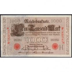 Allemagne - Pick 44b - 1'000 mark - 21/04/1910 - Lettre H - Série E - Etat : SPL