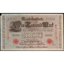 Allemagne - Pick 44b - 1'000 mark - 21/04/1910 - Lettre L - Série G - Etat : B+