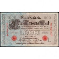 Allemagne - Pick 44b - 1'000 mark - 21/04/1910 - Lettre L - Série G - Etat : TTB