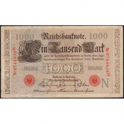 Allemagne - Pick 44b - 1'000 mark - 21/04/1910 - Lettre N - Série H - Etat : TTB