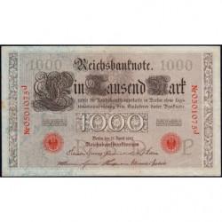 Allemagne - Pick 44b - 1'000 mark - 21/04/1910 - Lettre P - Série J - Etat : TTB