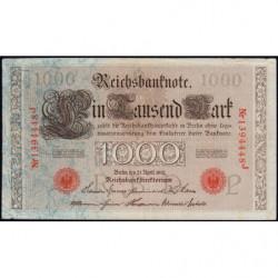 Allemagne - Pick 44b - 1'000 mark - 21/04/1910 - Lettre P - Série J - Etat : TTB-